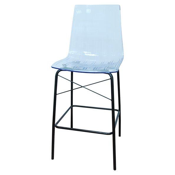 כיסא בר ניס שקוף רגל שחורה