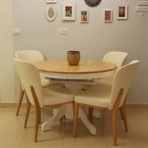 כסאות מרופדים רגלי עץ