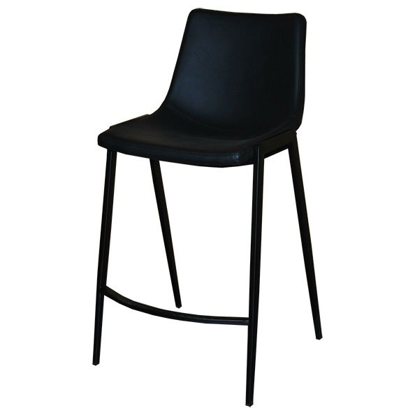כסא בר מרופד רגל שחורה