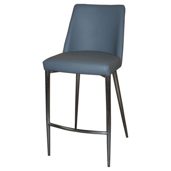 כסא בר מרופד רגל ניקל