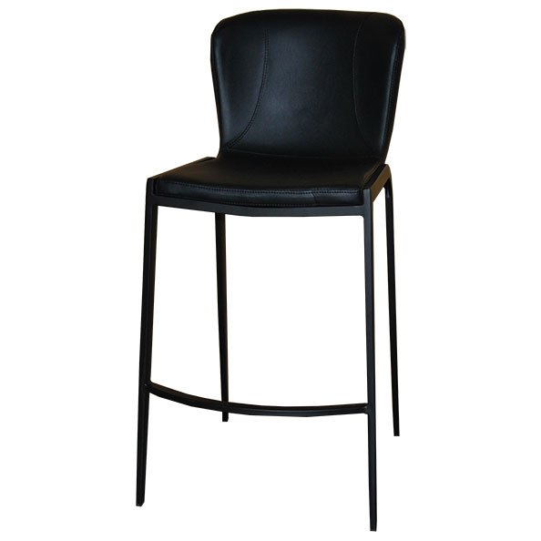 כסא בר מרופד רוברט רגל שחורה