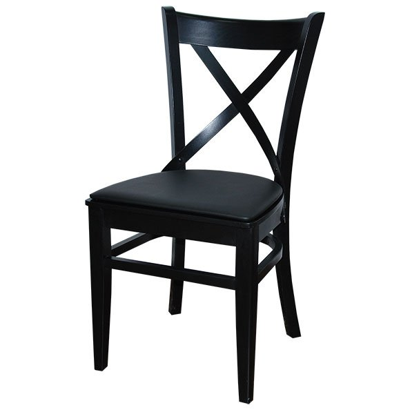 כיסא טל לפינת אוכל שחור עם ריפוד שחור