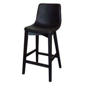 כסא בר מרטן מושב שחור עם רגלי עץ שחורות