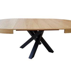 שולחן עגול נפתח עם רגליים שחורות