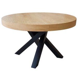 פינת אוכל שולחן עגול רגל שחורה