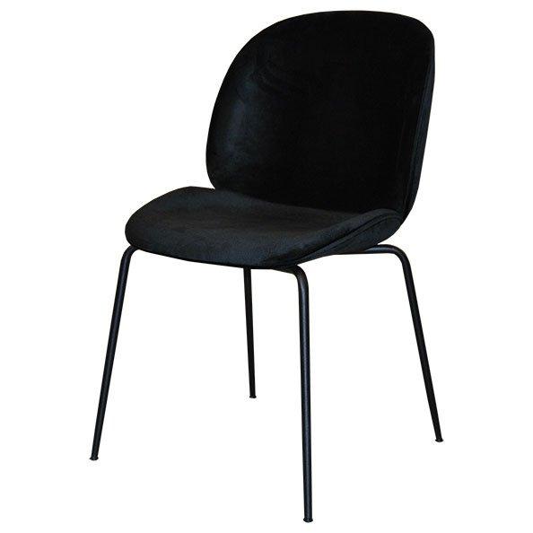כסא מרופד קטיפה בצבע שחור דגם ביטל