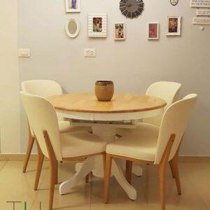 שולחן עגול קוטר 107 עם כסאות לפינת אוכל