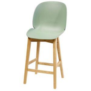 כסא בר ביטל פלסטיק עם רגלי עץ