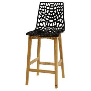 כסא בר רשת רגלי עץ מרובעות