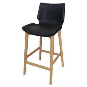 כסא בר מרופד עם רגלי עץ אלון