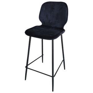 כסא בר קטיפה שחורה