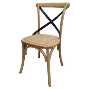 כסא עץ ראטן עם איקס