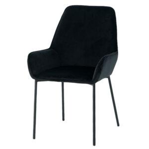 כסא קטיפה שחור עם ידיות