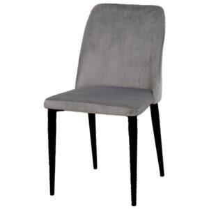 כסא קלרה קטיפה אפור