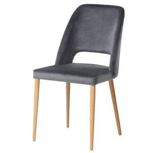 כסא פז אפור רגלי עץ