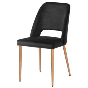 כסא פז שחור רגלי עץ