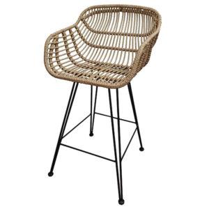 כסא בר ראטן עם ידיות